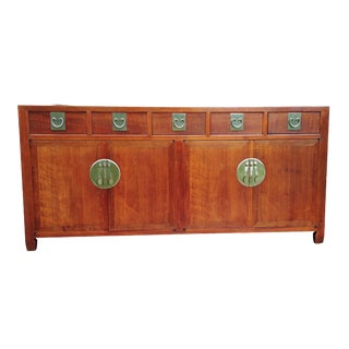 Vintage Chinese Asian Mid Century Rosewood Sideboard Credenza Buffet For Sale