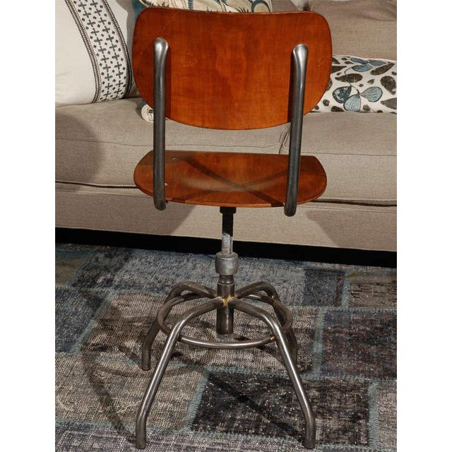1920 French Wood and Metal Swivel Chair For Sale In Los Angeles - Image 6 of 8