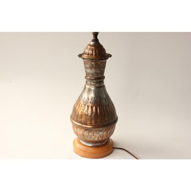 Egyptian Tinned Copper Table Lamp For Sale - Image 5 of 6