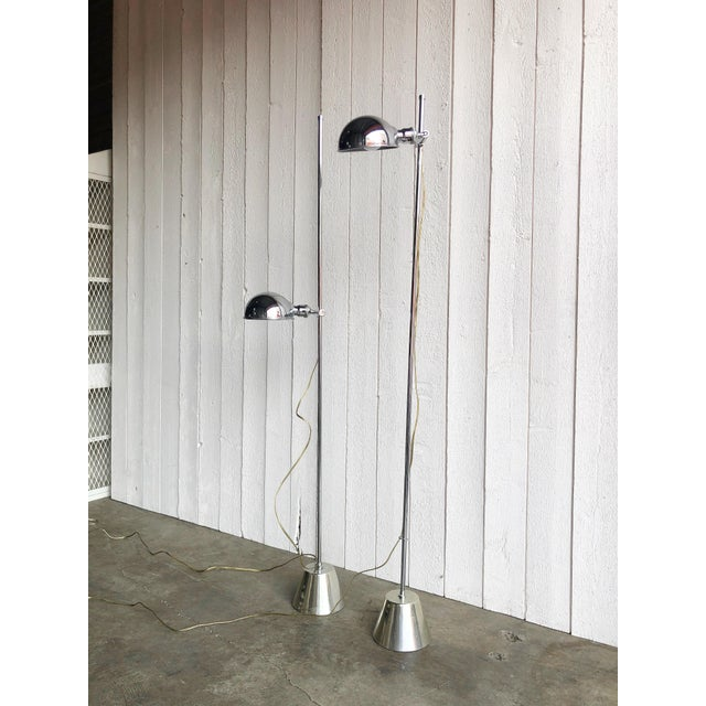 Mid-Century Modern Adjustable Chrome Reading Lamps - a Pair For Sale - Image 3 of 9