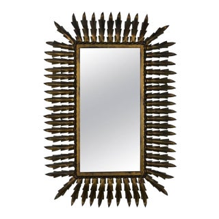 Spanish Gilt Metal Rectangular Sunburst Mirror For Sale