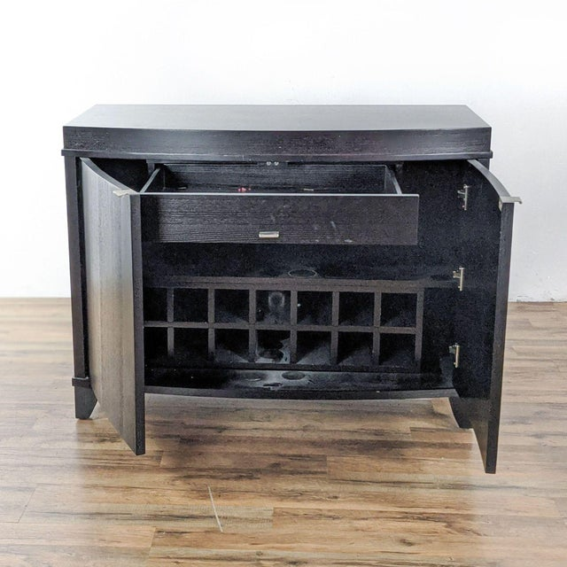 Contemporary Crate & Barrel Espresso Bar Cabinet For Sale - Image 3 of 9