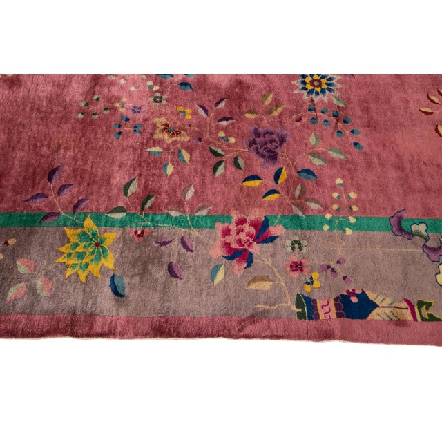 Early 20th Century Antique Art Deco Chinese Wool Rug For Sale In New York - Image 6 of 11