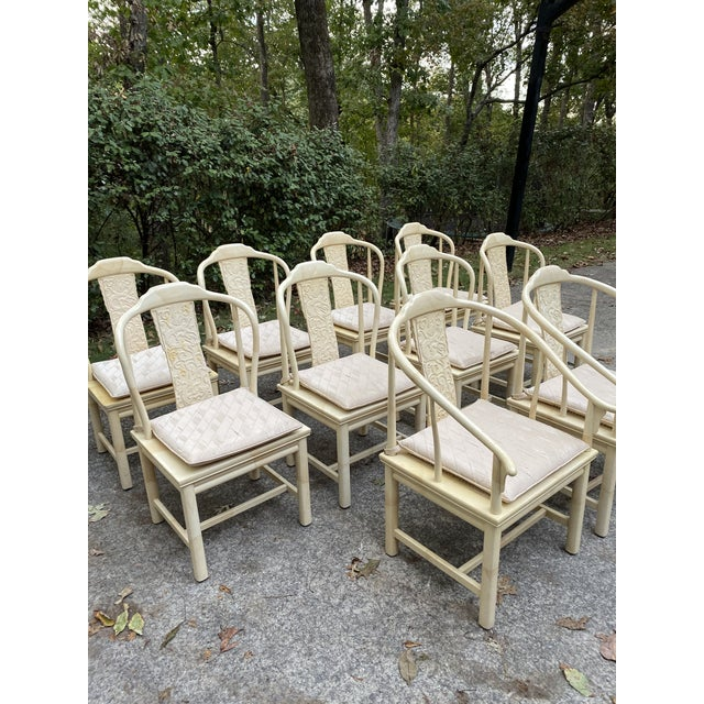Beautiful set of 10 dining chairs. Henredon chinoiserie Asian cane seat with pad. Table available for sale individually in...