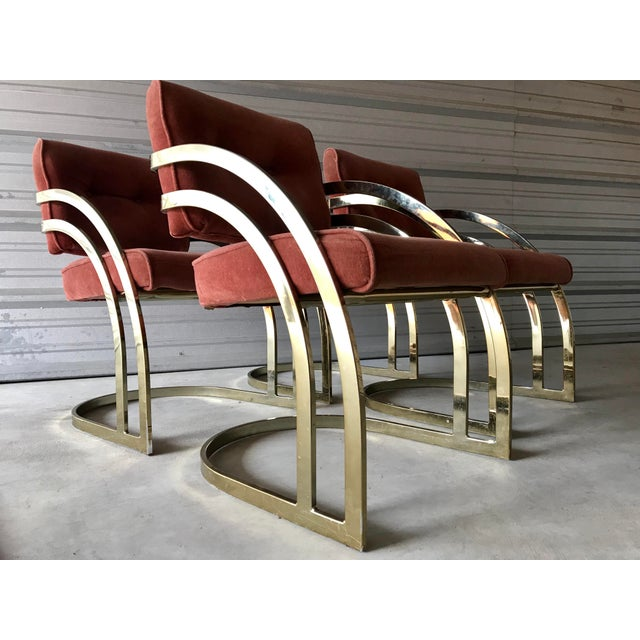 Milo Baughman Milo Baughman Style Brass/Gold Dining Chairs - Set of 4 For Sale - Image 4 of 8
