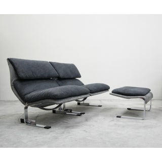 Pair of Italian Chrome Onda Wave Lounge Chairs by Giovanni Offredi for Saporiti Preview