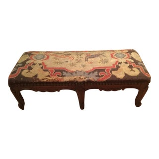 Late 20th Century Vintage Needlepoint Stool For Sale