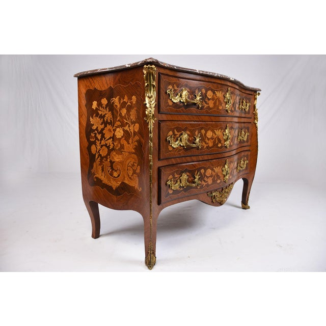 Late 19th Century Louis XV-style Marquetry Chest of Drawers For Sale - Image 4 of 10