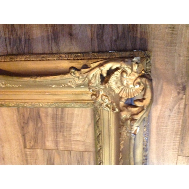 Antique Wood Hollywood Regency Large Frame Victorian White Shabby Chic - Image 3 of 11