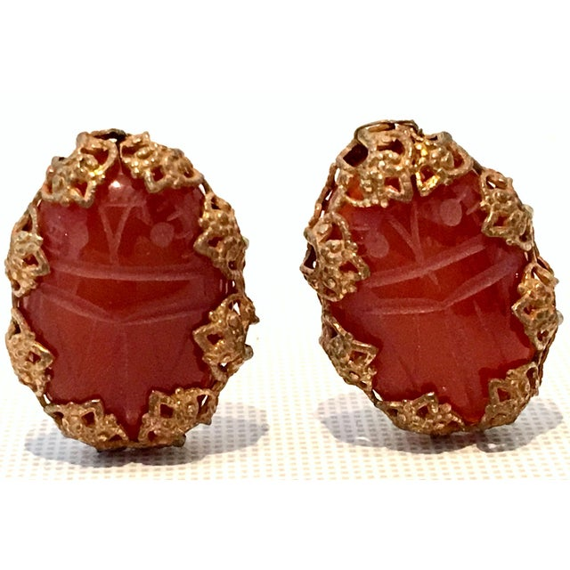 """Mid-20th Century Egyptian Revival Style Miriam Haskell Russian Gold Filigree Set Carved Glass """"Cinnabar"""" Scarab Earrings...."""