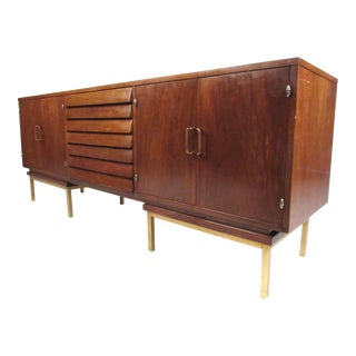 Mid-Century Modern Walnut Sideboard or Record Cabinet by American of Martinsville For Sale
