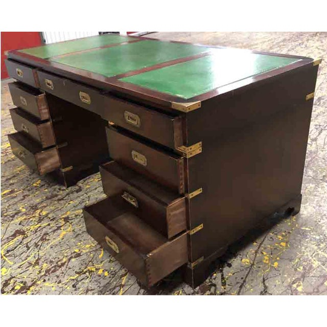 1970s 1970s English Campaign Mahogany Brass & Green Leather Partner Desk For Sale - Image 5 of 8