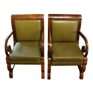 Early 20th Century Vintage Baltic Biedermeier Arm Chairs- A Pair For Sale