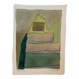 """1980s """"Mycenae"""" Abstract Watercolor Painting by Lee Hall For Sale"""
