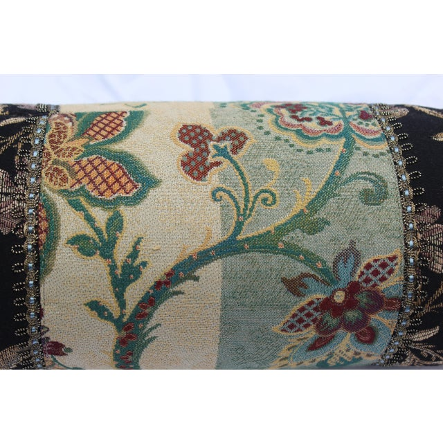 Contemporary Multicolored Floral Tapestry Bolster With Tassles and Cords For Sale - Image 11 of 13