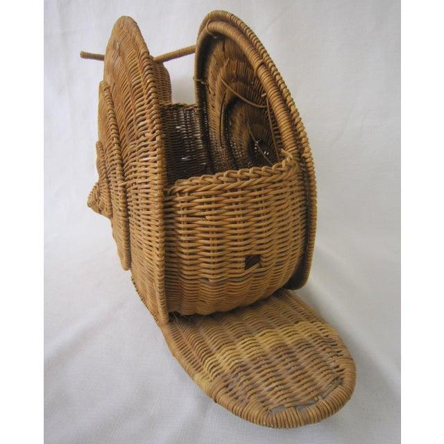 Vintage Wicker Snail Basket For Sale - Image 4 of 8