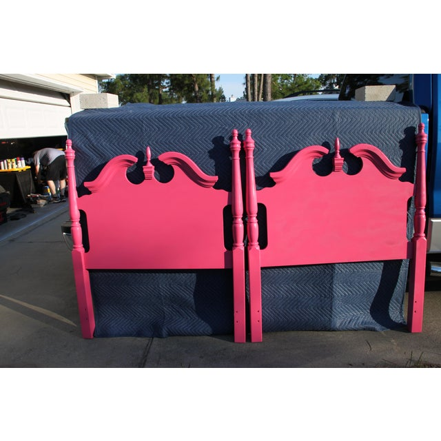 Hollywood Regency / Neo Classic / Geogian Glam Gloss Pink Twin Headboards - a Pair For Sale - Image 11 of 12