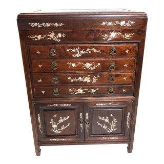 Stunning! Chinoiserie Rosewood & Mother of Pearl Silverware/Flatware Cabinet/Chest For Sale