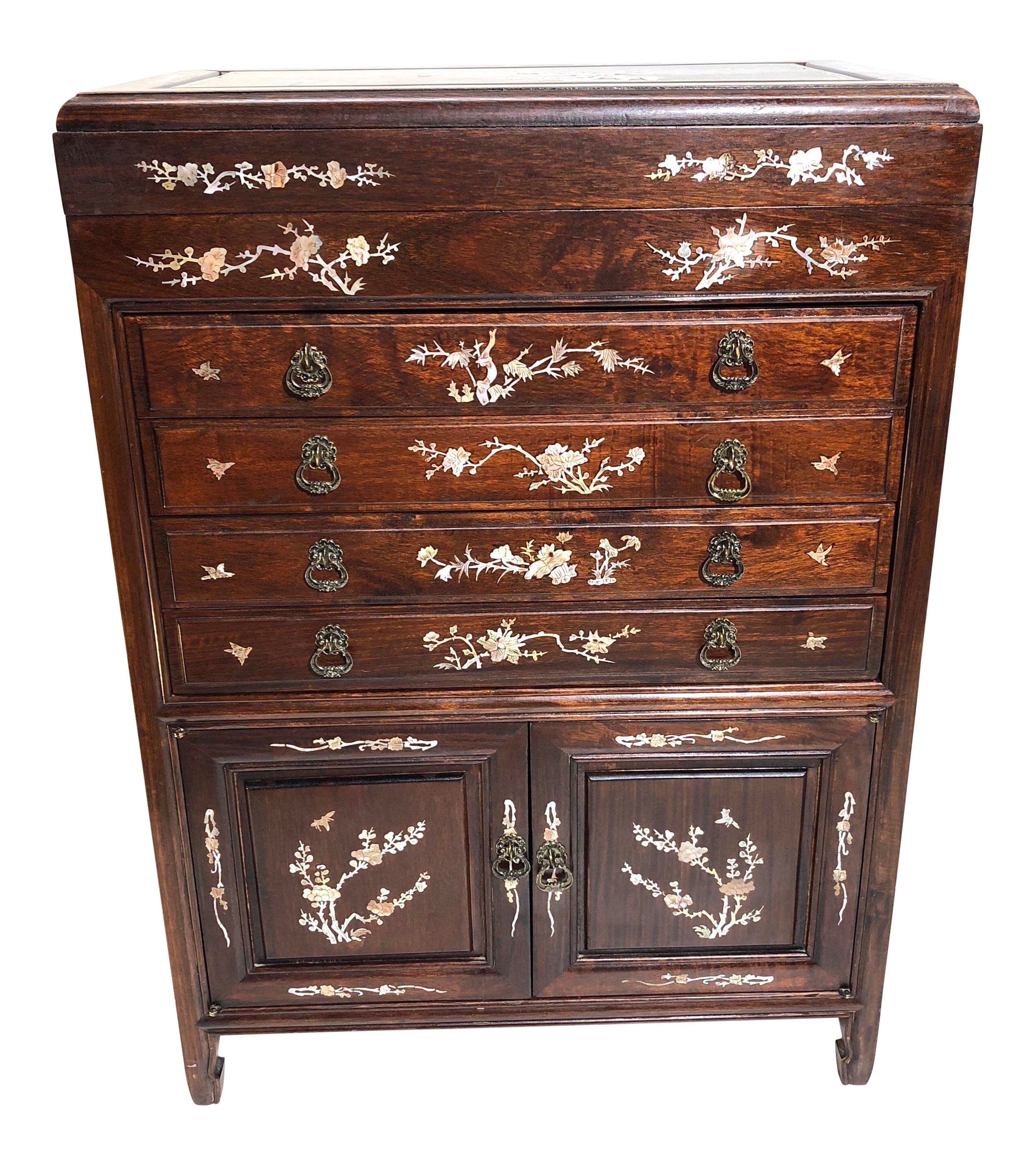 Chinoiserie Rosewood U0026 Mother Of Pearl Silverware/Flatware Cabinet/Chest  For Sale
