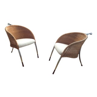 1970s Wicker & Aluminum Three Leg Chairs - a Pair For Sale