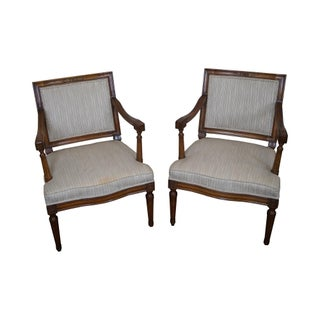 Vintage Petite French Louis XVI Arm Chairs - Pair For Sale