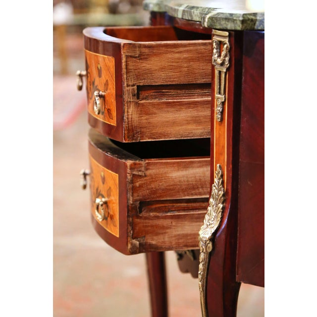 20th Century French Louis XV Walnut Commode Chest of Drawers With Marble Top For Sale - Image 9 of 13