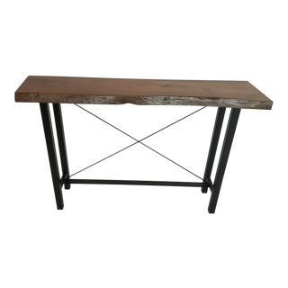 Industrial Beefwood Live Edge Slab Console Table