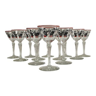 Mid-Century Stemmed Cordials - Set of 12 For Sale
