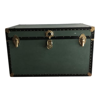 Vintage Antique Large Green Leather Handled Steamer Trunk Table For Sale
