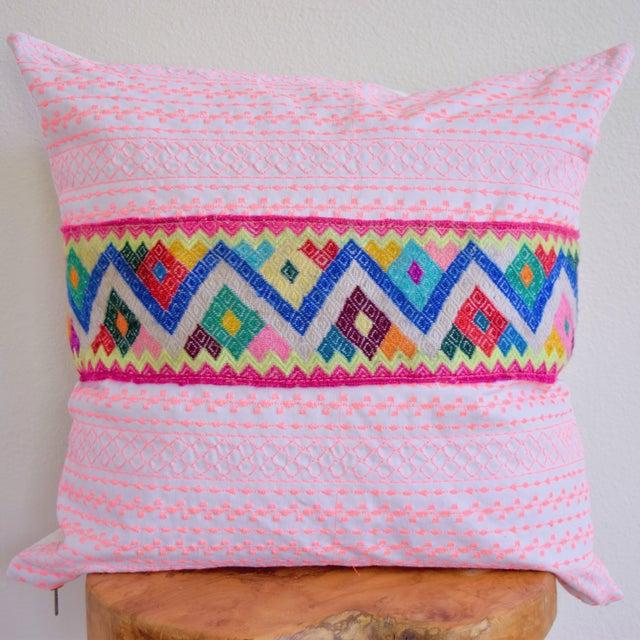 Pink Stitch & Peruvian Ribbon Pillow - Image 2 of 5