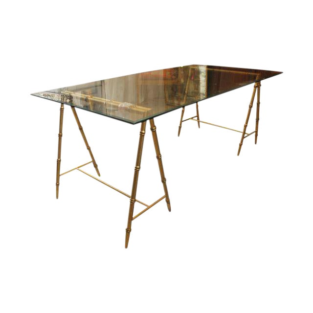 Glass & Gold Iron Faux Bamboo Dining Table - Image 1 of 6