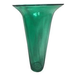 Blenko Handmade Green Glass Vase For Sale