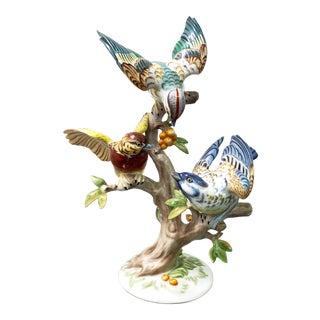 Vintage German Porcelain Three Birds Tree Hand Painted Sculpture Signed Rosenthal HMeisel For Sale