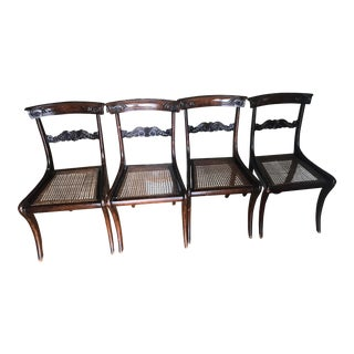 Regency Period Mahogany Cane Seat Chairs - Set of 4 For Sale