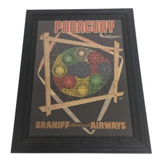 Vintage Framed Braniff International Airways Travel Poster For Sale