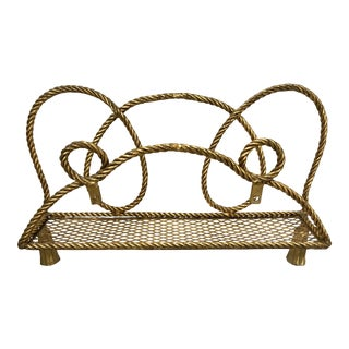 Hollywood Regency Brass Rope and Tassel Shelf Wall Bracket For Sale