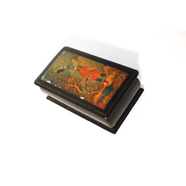Hinged Rectangular Russian lacquer box and lid. The most fascinating element of Russian lacquer art is the hand-painted...