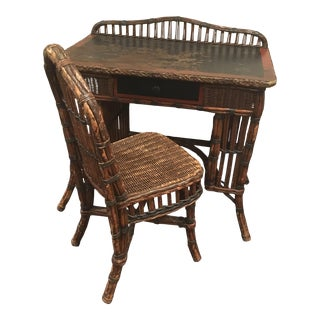 Antique Wicker and Rolled Vine Ladies Writing Desk and Chair