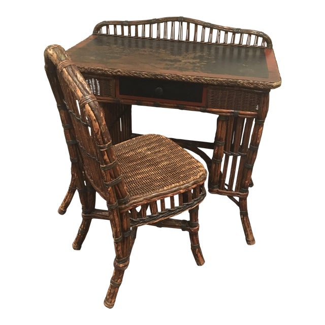Antique Wicker Desk and Chair - Antique Wicker Desk And Chair Chairish