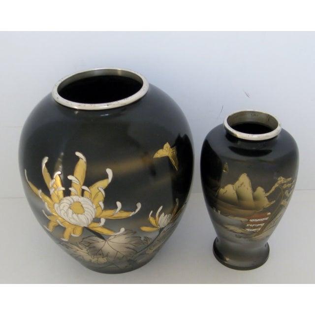 Vintage Meiji Metalwork Vases - A Pair - Image 5 of 11