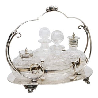 19th Century Victorian Silver Plate and Crystal Cruet - Set of 5