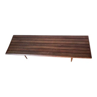 Mid Century Modern Tapered Legged Slatted / Slat Bench or Coffee Table