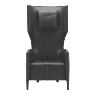 1990s Mid-Century Modern Brueton Black Wingback Chair For Sale
