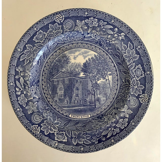 Ceramic 1930 Wedgwood Princeton University Blue and White Dinner Plate Set of 9 For Sale - Image 7 of 12