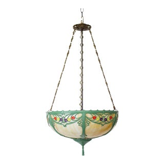 Early 20th Century Hand Painted Panel Glass Bowl Fixture For Sale