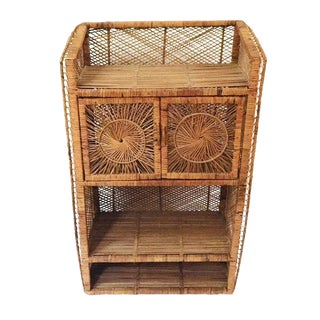 1960s Vintage Rattan Record Stand / Bar Cabinet For Sale