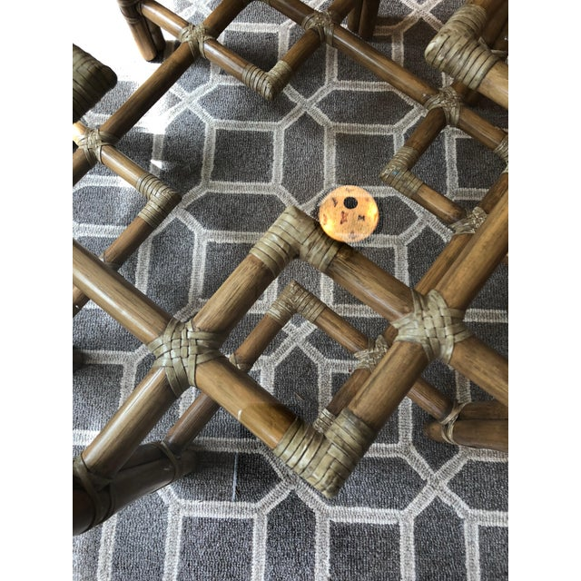 1990s 1990s Boho Chic McGuire Round Rattan Coffee Table With Glass Top For Sale - Image 5 of 11