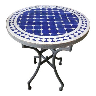 "24"" Blue / White Moroccan Mosaic Table - Cr4"