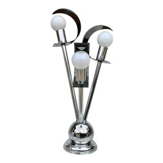 Mid-Century Modern Atomic Chrome Smoked Lucite Shade Table Lamp For Sale