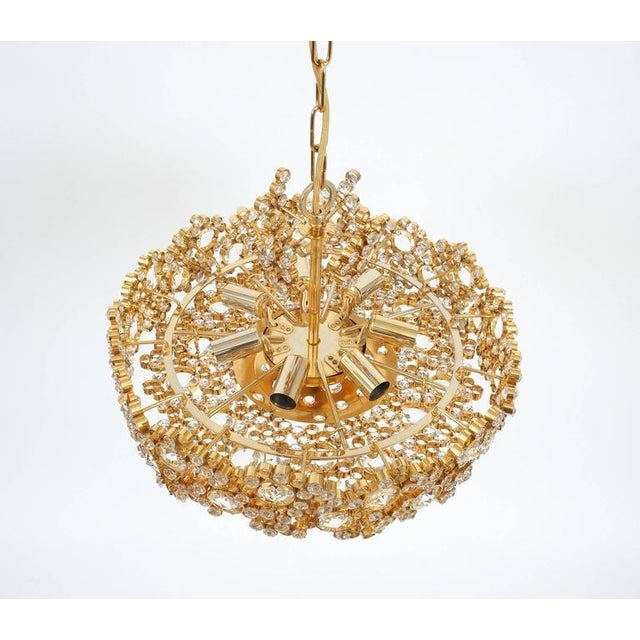 Palwa Pair Palwa Crystal Glass Gold Plated Brass Chandeliers Refurbished Lamps, 1960 For Sale - Image 4 of 10